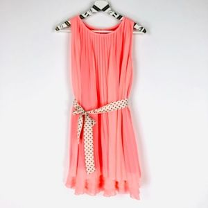 LAUNDRY Coral Pink Pleated Layered Dress